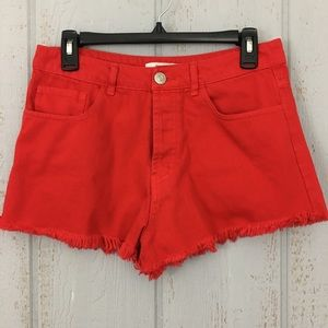 Forever 21 Red Button Fly Cut Off Denim Shorts